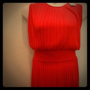 Calvin Klein 1x Orange  Ribbed or Pleaded Dress.